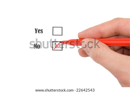 Human marking in check-box, isolated on white