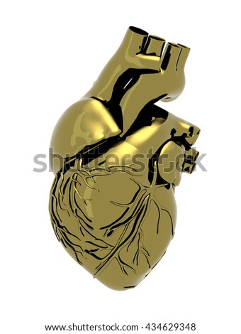 Human metal heart isolated on a white background, 3d illustration - stock photo