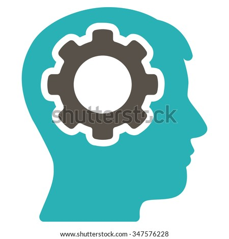 Human Mind glyph icon. Style is bicolor flat symbol, grey and cyan colors, rounded angles, white background. - stock photo