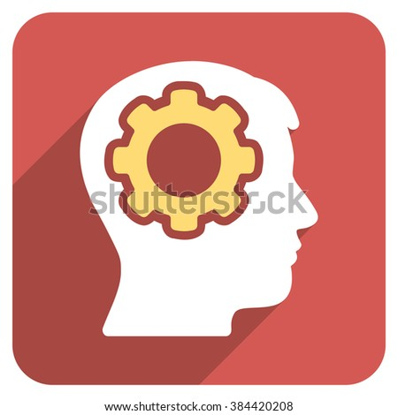 Human Mind long shadow glyph icon. Style is a flat symbol on a red rounded square button. - stock photo