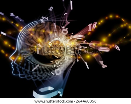 Human Mind series. Abstract composition of brain, human outlines and fractal elements suitable as element in projects related to technology, science, education and human mind - stock photo