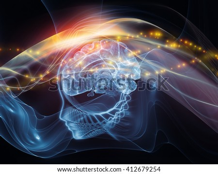 Human Mind series. Backdrop design of brain, human outlines and fractal elements to provide supporting composition for works on technology, science, education and human mind - stock photo