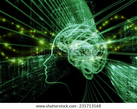 Human Mind series. Backdrop of brain, human outlines and fractal elements on the subject of technology, science, education and human mind
