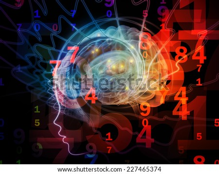 Human Mind series. Composition of brain, human outlines and fractal elements on the subject of technology, science, education and human mind