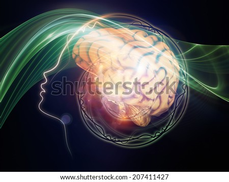Human Mind series. Composition of brain, human outlines and fractal elements suitable as a backdrop for the projects on technology, science, education and human mind