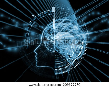 Human Mind series. Composition of brain, human outlines and fractal elements with metaphorical relationship to technology, science, education and human mind - stock photo