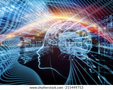 Human Mind series. Creative arrangement of brain, human outlines and fractal elements as a concept metaphor on subject of technology, science, education and human mind