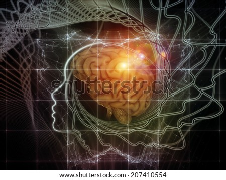 Human Mind series. Visually pleasing composition of brain, human outlines and fractal elements to serve as  background in works on technology, science, education and human mind