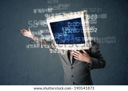 Human monitor pc calculating computer data on a blue screen