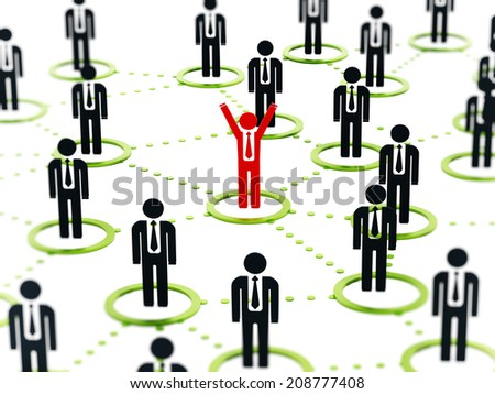 Human network concept with business people connected to each other - stock photo