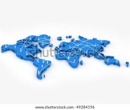 Human network on world map - stock photo