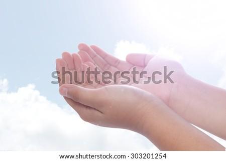Human open empty hands - stock photo