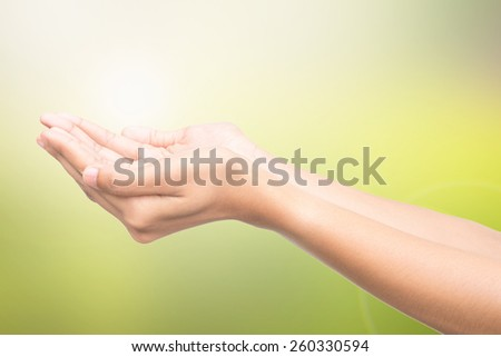 Human open empty hands, over blurred nature background