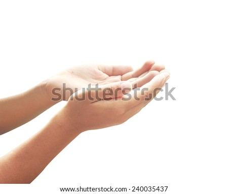 Human open empty hands with palms up, isolated on white. Merry Christmas Card, Thankful, Repentance, Reconcile, Adoration, Glorify, Peace, Evangelical, Hallelujah concept