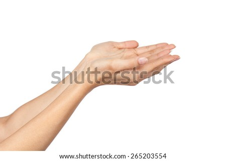 Human open empty hands with palms up, over isolate white background - stock photo