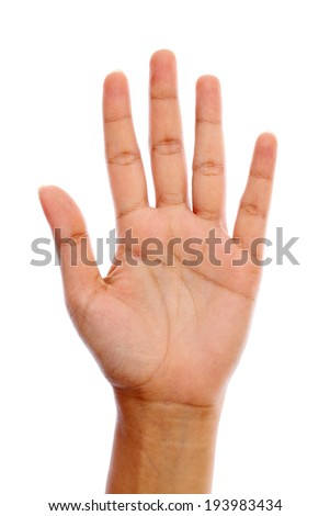 Human open hand sign against white background - stock photo