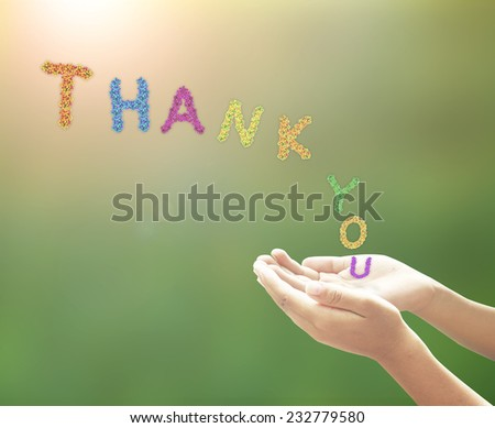 Human open hands with palms up and fruitful text for THANK YOU. International Thank You Day