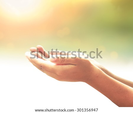 Human open two empty hand with palms up. Ask Seek Beg Help Race God Soul Pray Dua Hajj Give Bless Quran Aura Heal Life Gift Eid Islam Thanks Glow Prayer Macca Soul Creation Dream Source Nature concept