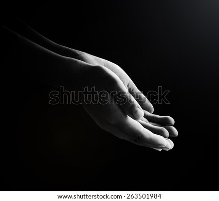Human open two empty hands with palms up. Ask Pose Seek Beg Help Race God Well Soul Pray Dua Hajj Give Bless Quran Aura Heal Life Gift Eid Poor Idea Islam Thank Room Candle Glow National Day of Prayer - stock photo