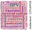 Human papillomavirus or HPV in word collage - stock vector