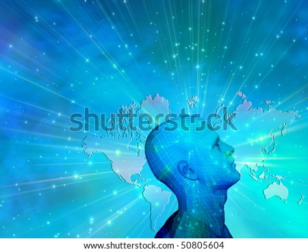 Human profile and map of earth - stock photo