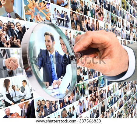 Human resource concept, magnifying glass searching people - stock photo