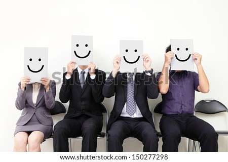 Human resource concept, Young businessman holding white billboard with a smile happy face on it and waiting for job interview, , asian people - stock photo