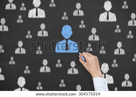 Human Resource Conceptual Drawing on Blackboard Texture  - stock photo