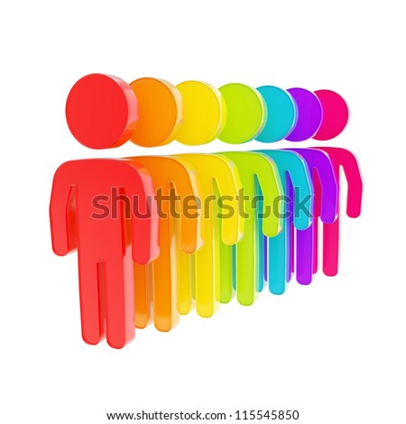 Human resource glossy emblem icon as rainbow colored figures in a row isolated on white - stock photo