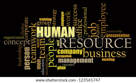 Human Resource info-text graphics arrangement concept on black background