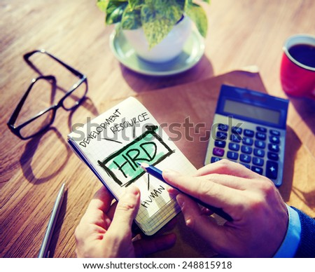 Human Resource Management HRD Employment Recruitment Workforce Concept - stock photo