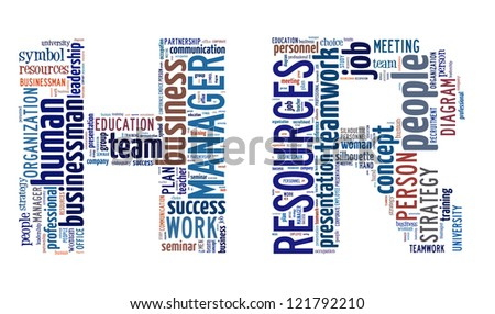 Human Resource word cloud in letter H and R isolated in white background - stock photo