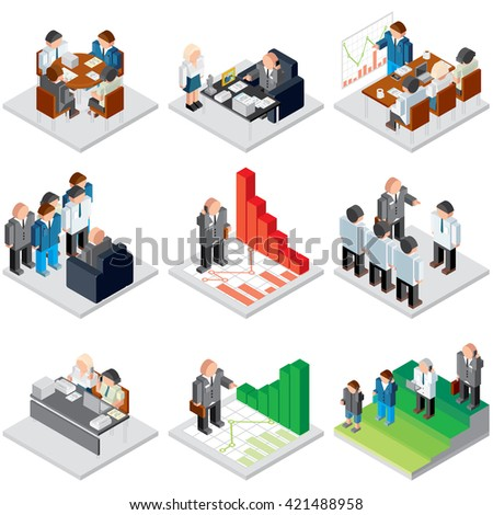 Human Resources and Management 3d Icon Set. Various Business Situation: Office Work, People Meeting, Job Interview, Career Growth. Isometric Illustrations. - stock photo
