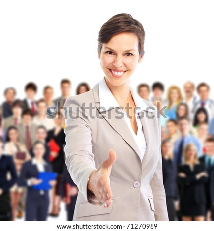 Human resources. Businesswoman and a large group of business people.
