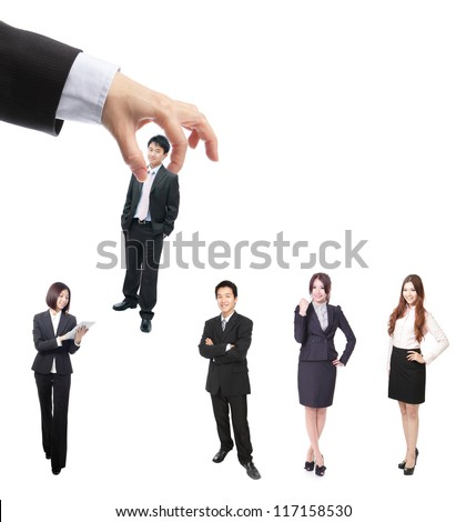 Human Resources concept: choosing the perfect candidate (business man) for the job, model are asian people - stock photo