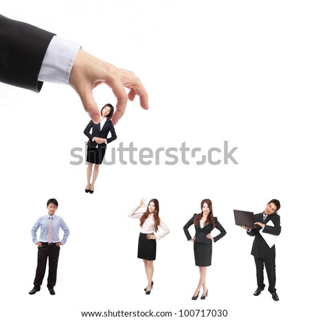 Human Resources concept: choosing the perfect candidate for the job, model are asian people - stock photo