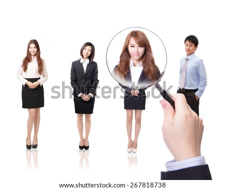 Human Resources concept: choosing the perfect candidate for the job, model are asian people