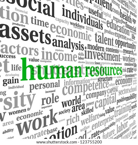 Human resources concept in tag cloud on white background - stock photo