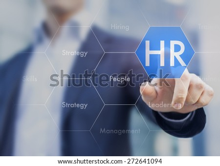 Human resources concept on touch interface - stock photo