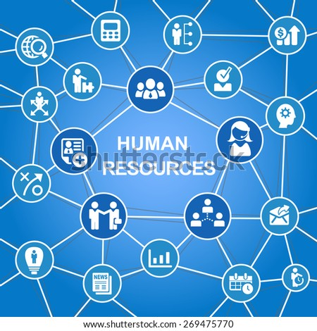 Human Resources Concept with business icon - stock photo