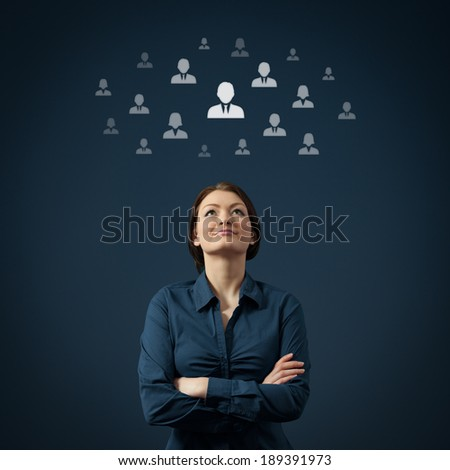 Human resources, CRM and social networking concept - female officer think about employee.