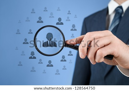 Human resources, CRM, data mining and social media concept - officer looking for employee represented by icon. Gender discrimination in employees selection. - stock photo
