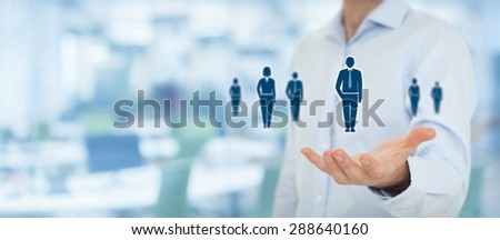 Human resources, customer care, employment agency and marketing segmentation concepts. Businessman or personnel and icons representing group of people. Wide banner composition with office.  - stock photo