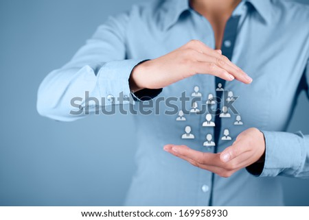 Human resources, customer care, patron, care for employees and life insurance concepts. Protecting gesture of businesswoman or personnel and icons representing group of people.