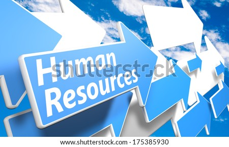 Human Resources 3d render concept with blue and white arrows flying in a blue sky with clouds - stock photo