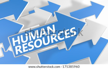 Human Resources 3d render concept with blue and white arrows flying over a white background. - stock photo