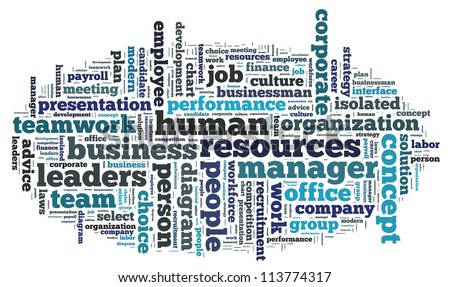 human resources info-text graphics and arrangement concept on white background (word cloud)
