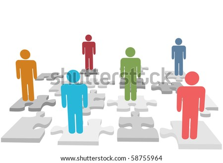 Human resources issues and other people issues and find solutions on jigsaw puzzle pieces. - stock photo