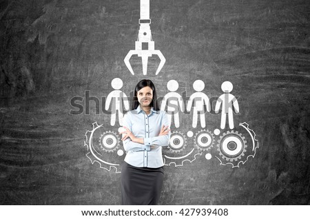 Human resources management and choice concept with confident businesswoman and sketch on chalkboard background - stock photo