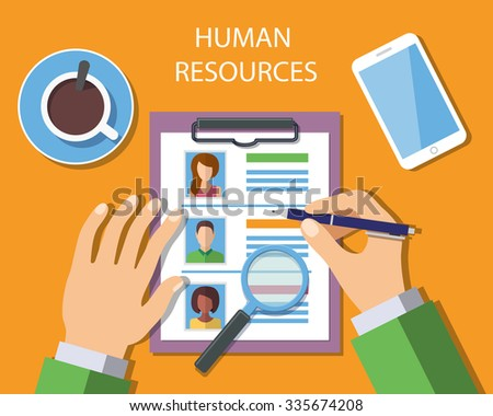 Human Resources Management Concept, Man analyzing personnel resume. - stock photo